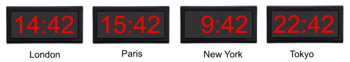 Network clocks displaying different time zones.