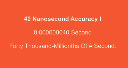 The GPS system is accurate to 40 nanoseconds.
