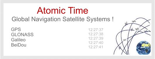 Highly accurate atomic time is provided by Global Navigation Satellite Systems, such as GPS.