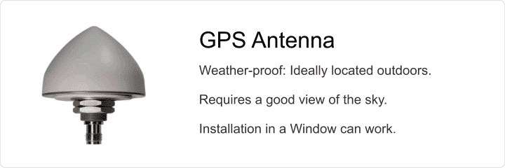 A GPS timing antenna should be provided with a good view of the sky.