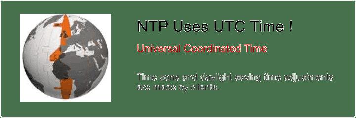 NTP uses UTC time rather than GPS or local time.