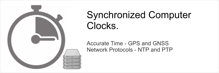 Time synchronization of computer clocks using NTP, PTP and GNSS.